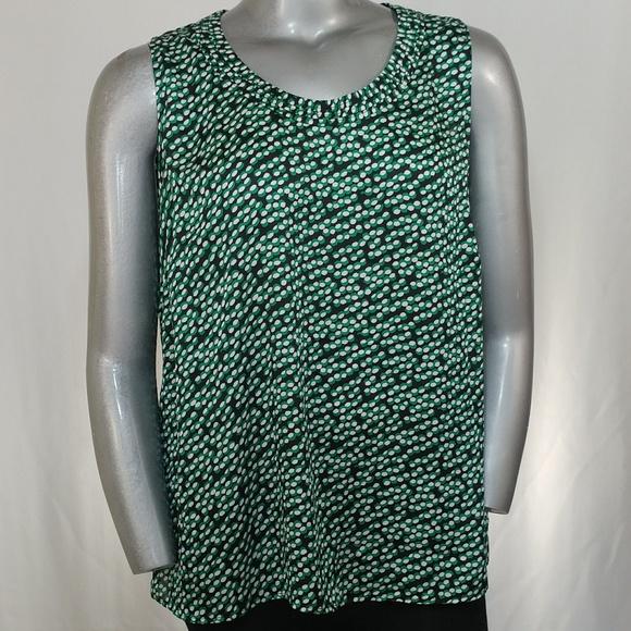 4f3dc0d3f8eb5 Kasper Tops - Kasper Scoop Neck Green Print Sleeveless Blouse 2X